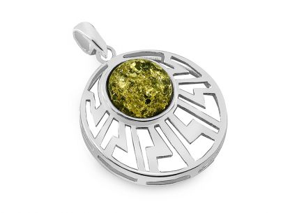 Extraordinary silver pendant with amber