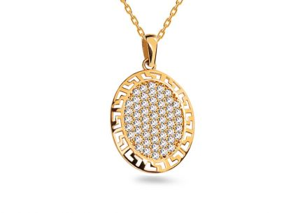 Gold pendant with antic pattern and zircons