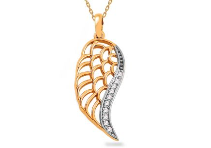 Gold Angel wing pendant with zircons