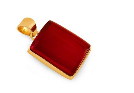 Gold-plated silver rectangle pendant with cherry amber