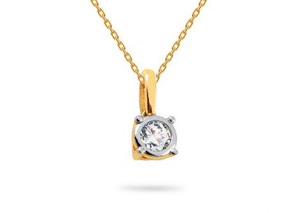 Gold two-tone pendant with zircon