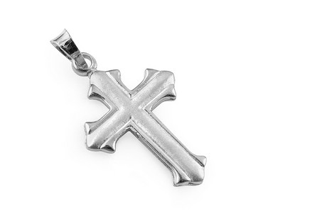 Rhodium plated Silver cross pendant with frosted