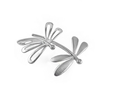 Rhodium plated Silver dragonfly pendant