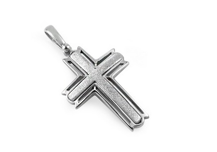 Silver pendant cross with sanding