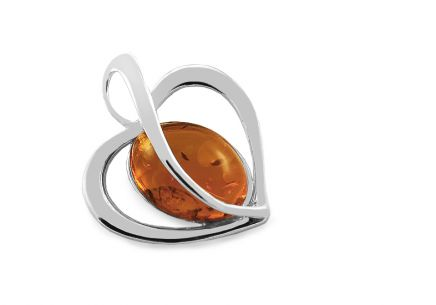 Silver Heart pendant with amber