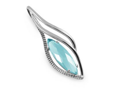 Rhodium plated 925Sterling Silver Pendant with blue stones