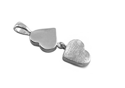 Rhodium plated Silver pendant with hearts
