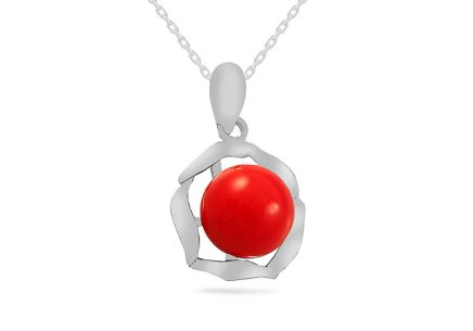 Rhodium plate 925Sterling Silver pendant with red pearl