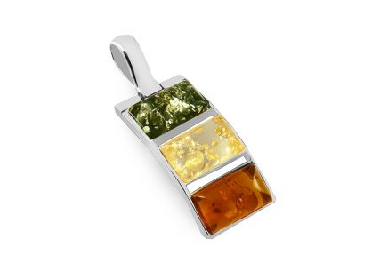 Silver pendant with three-tone amber