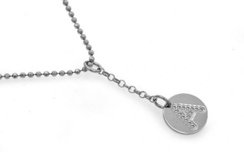 Rhodium plated Silver chain with pendant letter A