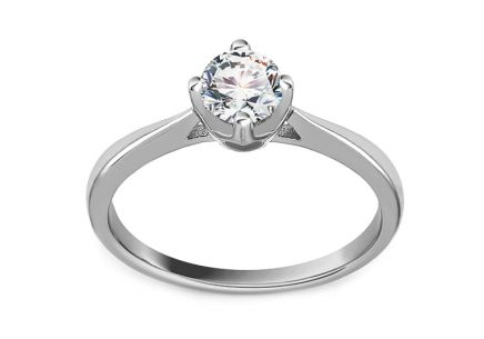 Silver engagement ring with zircon