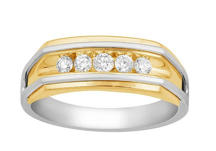 Gold men's ring with diamonds