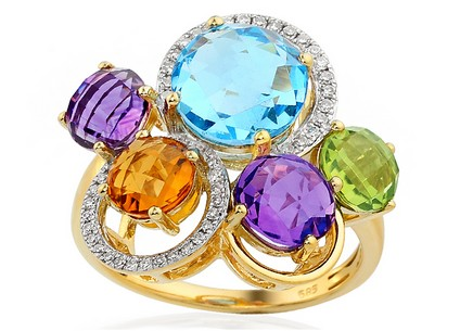 Gold Diamond and Precious Stone Ring