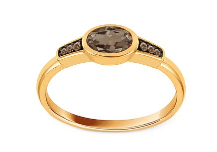 Gold ring with champagne diamonds 0.020ct and fumous quartzite