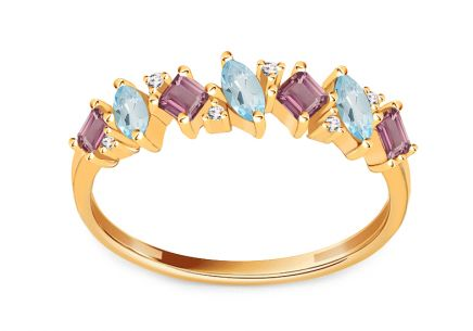 Gold ring with precious stones and diamonds 0.020 ct