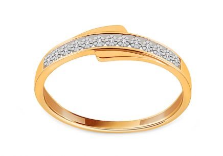 Two-tone gold ring with diamonds 0.020 ct