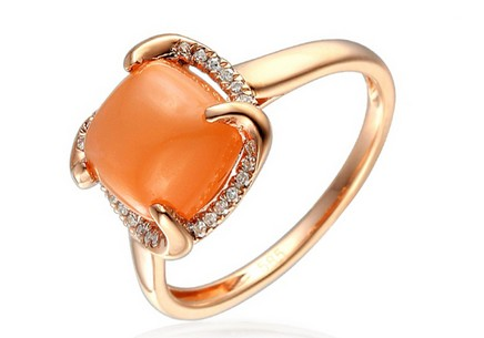 Diamond and orange moonstone ring