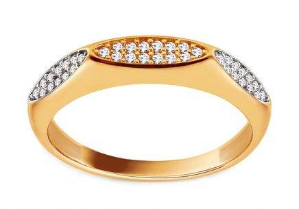 Charming gold two-tone zirconia ring