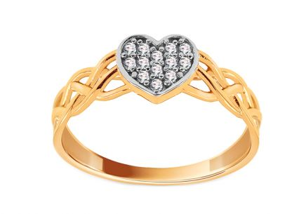 Gold heart ring weaved with zircons