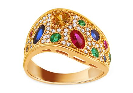 Gold ring with colored stones
