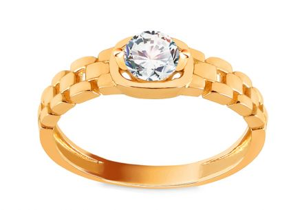 Gold Ring with Zircon