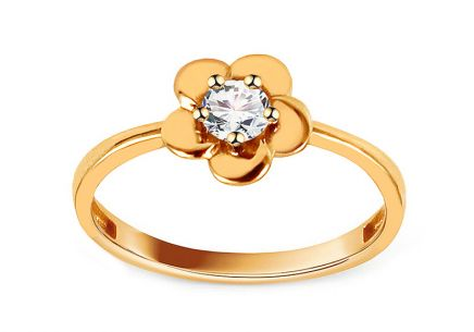 Gold flower ring with zircon