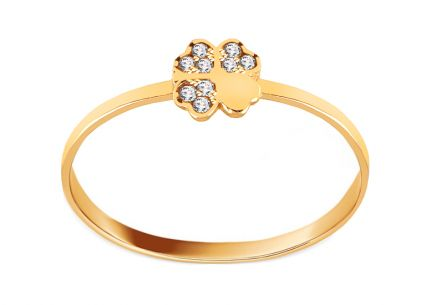 Golden Four Leaf Clover Ring with Zircons