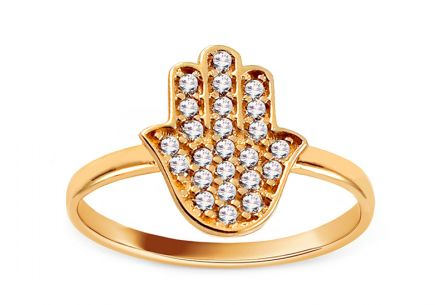 Gold ring with zircons Fatima's hand (Hamsa)