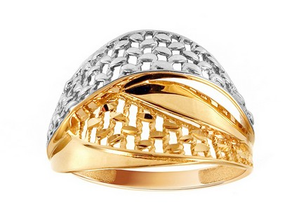 Gold two-tone ring with decorative string