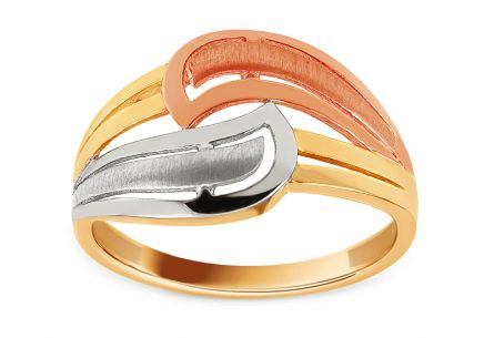 Gold tri-color ring with matt