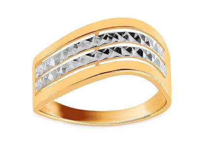 Gold Engraved Two Tone Ring