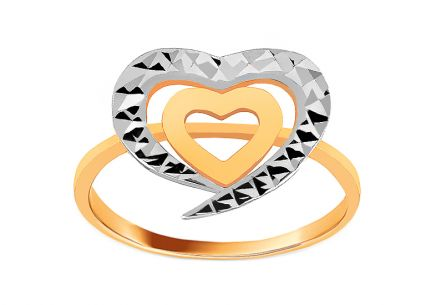 Two tone gold ring with hearts