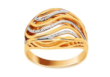 Gold ring with wavy pattern