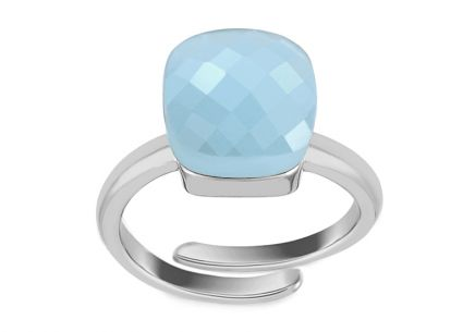 Rhodium plated Silver lady's ring with Blue design