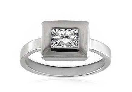 Rhodium plated 925Sterling Silver Ring with cubic zirconia
