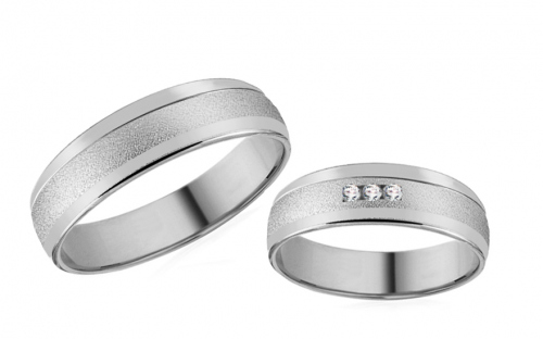Romantic white gold wedding rings with stones - RYOB191