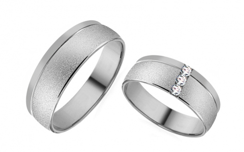Romantic white gold wedding rings with stones