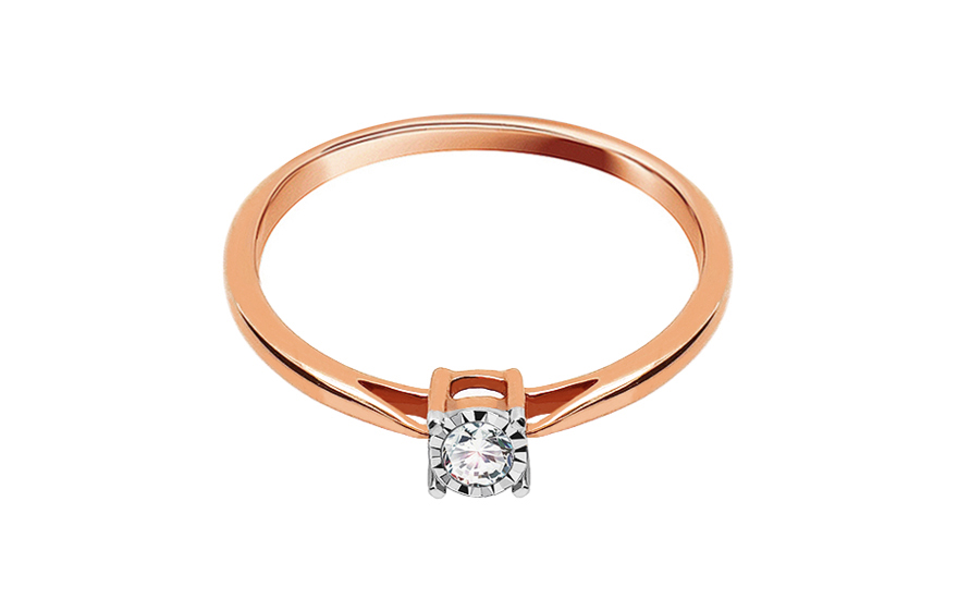 Rose Gold Engagement Ring With Diamond 0 100 Ct Vienna For Women Ku492r Gjewelry Co Uk