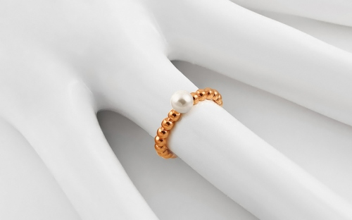 Rose Gold Engagement Ring with Pearl Pelipa - IZ13263R - on a mannequin