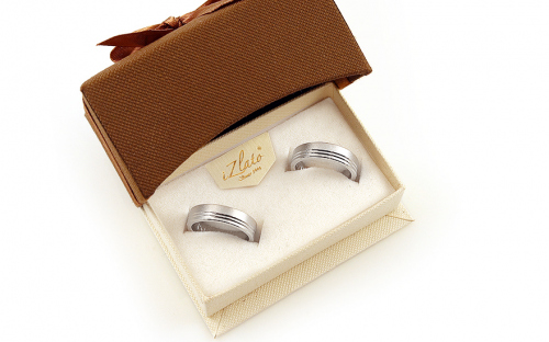 Rhodium plated sterling silver Sandblasted silver wedding rings - STOB127AG