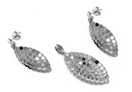 Rhodium plated Silver set Earrings and Pendant for Ladies
