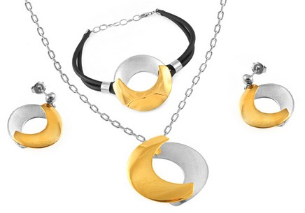 Combined Rhodium and Gold plated 925Silver set look Harmony