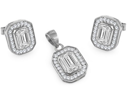 Sterling Silver set Earring and Pendant with Cubic Zironia