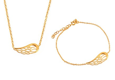 Gold plated silver Angel wings set