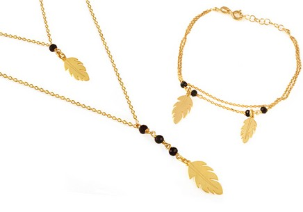 Gold plated 925 sterling silver set with feathers