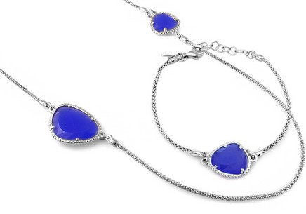 Rhodium plated Sterling Silver set Necklace and Bracelet decorated with blue stones
