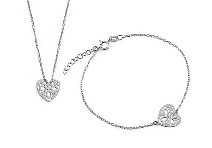 Jewelry Rubber set Necklace and Bracelet decorated with Silver Gold plated heart fashion