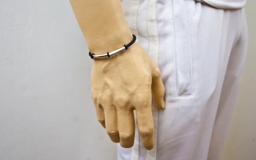 Silver and Rubber Bracelet - IS226 - on a mannequin