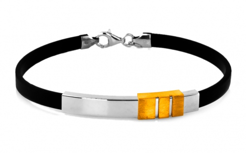 Silver and Rubber Bracelet - IS227