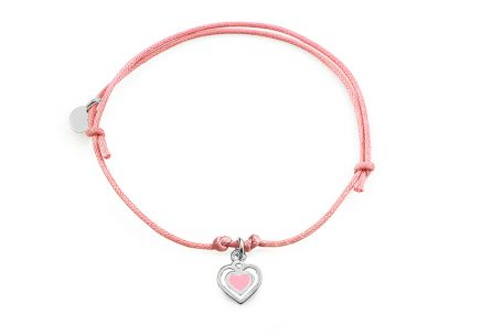 Silver pink cord baby bracelet Heart - IS2420